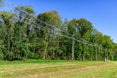 High Capacity Power Lines. Horizontal shot of some high capacity power lines beside some green trees under a blue sky Stock Photography