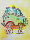 High car with yellow lamp. Drawn on paper with tip pen and watercolors royalty free illustration