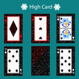 High card playing  poker combination.  illustration eps 10. On a green background. To use for design, registration, the webs Royalty Free Stock Photo
