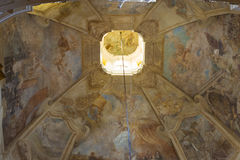 High ceiling painted with religious frescoes in the Cathedral Of St. Nicholas Royalty Free Stock Image