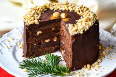 High chocolate cake with hazelnuts and a sprig of fir Stock Photo