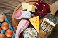 High-Cholesterol Foods. As eggs, liver, yellow cheese, butter, bacon, lard with onion, sardines in oil. Wooden table as background royalty free stock photo