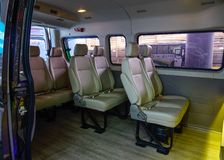High class interior van with leather royalty free stock image