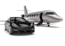 High class Limousine with private jet. 3D render image representing a High class Limousine with private jet Royalty Free Stock Image