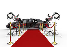 HIGH CLASS LIMOUSINE with red carpet and spotlights Royalty Free Stock Image