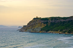 High cliff on Corfu island, Greece Stock Images