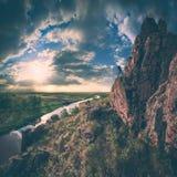 High cliff valley. Instagram stylisation. Sunrise with a beautiful sky in a high cliff valley. Instagram stylisation Stock Image