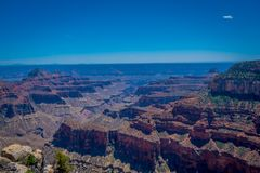 High cliffs above Bright Angel canyon, major tributary of the Grand Canyon, Arizona, view from the north rim. In USA stock image
