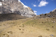 High cliffs of Cuyoc with snow on top Royalty Free Stock Photos