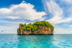 High cliffs on the tropical island. royalty free stock image