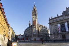 High clock tower in Lille, France. royalty free stock photography