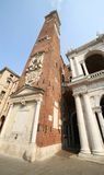 High clock tower of the Palladian Basilica in Vicenza italian ci Royalty Free Stock Image
