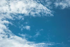 High Cloud. Fluffy white clouds in blue sky. Clouds floating on the top of the Earth`s atmosphere Stock Photography