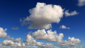 Beautiful white clouds forming and moving in blue sky stock footage