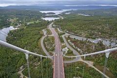 High Coast Bridge. The High Coast Bridge (swedish: Högakustenbron) is a suspension Bridge,  crossing Ångermanälven river in Sweden Stock Photo