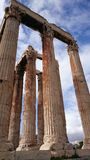 High columns of a greek temple - architectural details Royalty Free Stock Image