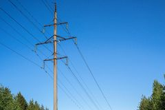High concrete support column of a power line Stock Images