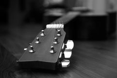 High contrast Acoustic guitar head in black and white. Background Royalty Free Stock Photos