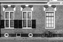 High contrast architectural detail. Architectural detail in Alkmaar, the Netherlands, high contrast black and white image Stock Image