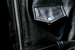 High contrast black leather jacket detail Royalty Free Stock Photography