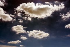 High contrast clouds. Clouds in sky with lots of drama and contrast Stock Photo