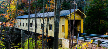 High contrast covered bridge. Royalty Free Stock Photo