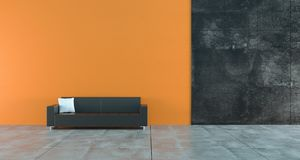 High Contrast Empty Room With Orange And Dark Concrete Walls And royalty free illustration