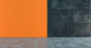 High Contrast Empty Room With Orange And Dark Concrete Walls Min. Imalistic Concept.3D Rendering Illustration Royalty Free Stock Photo