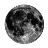 High contrast Full moon. Seen with a telescope from northern emisphere at night isolated over white Stock Photography