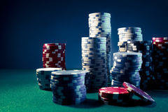 High contrast image of Casino chips Stock Photo