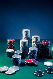 High contrast image of Casino chips Stock Images