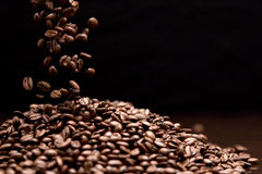 High contrast image of coffee beans. Royalty Free Stock Images