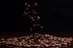 High contrast image of coffee beans. Royalty Free Stock Image