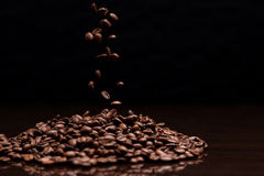 High contrast image of coffee beans. Stock Photos