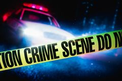 High contrast image of a crime scene. Police car at a crime scene with police tape, high contrast image Stock Photos