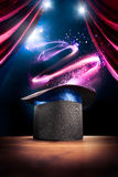 High contrast image of magician hat on a stage Royalty Free Stock Photos