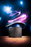 High contrast image of magician hat on a stage Royalty Free Stock Images