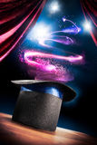 High contrast image of magician hat on a stage Stock Photography