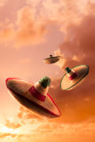 High contrast image of Mexican hats / sombreros in the sky Royalty Free Stock Image