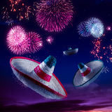 High contrast image of Mexican hats / sombreros in the sky with royalty free stock photo