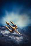 High contrast image of Poseidon's trident at sea Stock Photos