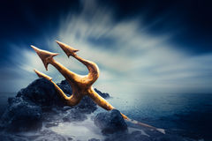 High contrast image of Poseidon's trident at sea Royalty Free Stock Photo