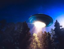 High contrast image of UFO flying over a forest with light beam