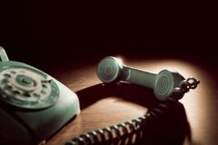 Vintage telephone with rotary dial stock photos