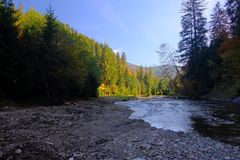 A high contrast shot of mountain river on sunny day Royalty Free Stock Photography