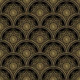 High contrasting seamless background tile with filigree golden ornament on black canvas. Vintage fabric style in damask design. Stock Photos