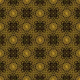 High contrasting seamless background tile with filigree golden ornament on black canvas. Vintage fabric style in damask design. Royalty Free Stock Images