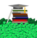 High Cost of College Education ( on White Background) Royalty Free Stock Photo