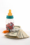 High cost of medical bills for children. High costs of children medication, bottle & pills, tall perspective and apparent tall bottle emphasizes high cost stock photos