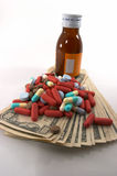 High cost of medical bills, label for entry. High costs of medication, bottle & pills, label blanked for entering text royalty free stock image